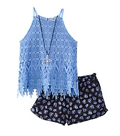 Beautees Girls' 7-16 2-Piece Lace Tank and Short Set
