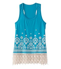 Little Miss Attitude Girls' 7-16 Border Print Tank Top