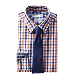 Nick Graham® Men's Multi Check Fitted Dress Shirt And Tie Set