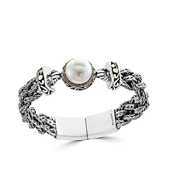 Effy® Sterling Silver And 18K Yellow Gold Cultured Fresh Water Pearl Bracelet