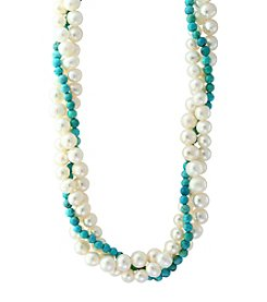 Effy® Sterling Silver Cultured Freshwater Pearl And Turquoise Bead Necklace