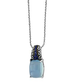 Effy® Sterling Silver And 18K Yellow Gold Chalcedony Quartz And  Sapphire Pendant