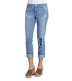 Democracy Feather Embroidered Crop Jeans