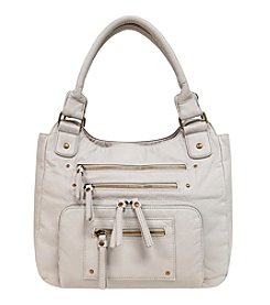 GAL Grainy Washed Multi Zip Pocket Tote