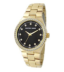 Geoffrey Beene Goldtone Crystal Bezel Textured Bracelet Watch