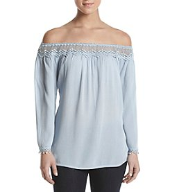 Adiva Lace Trim Off Shoulder Top
