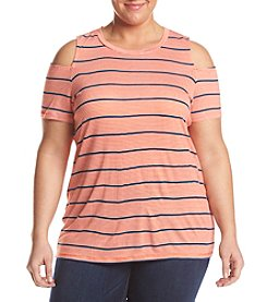 MICHAEL Michael Kors® Plus Size Cold Shoulder Striped Tee
