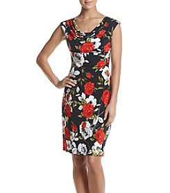 Connected® Floral Drapeneck Dress
