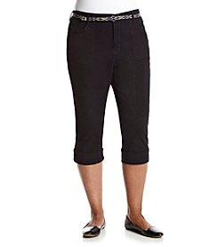 Gloria Vanderbilt® Plus Size Patty Belted Twill Capri Pants