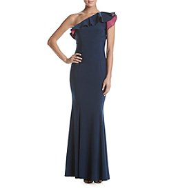 Xscape Ruffled One Shoulder Gown