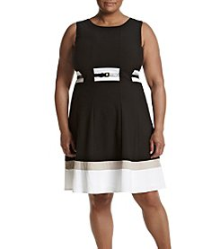 Calvin Klein Plus Size Belted Flare Dress