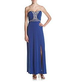 A. Byer Embellished Long Gown
