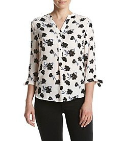 Ivanka Trump® Floral Split Neck Blouse