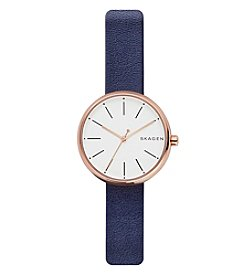 Skagen Women's 30mm Signatur Rose Goldtone Watch with Blue Leather Strap