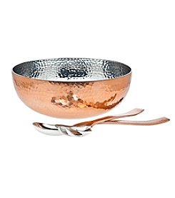 Godinger® Hammered Copper Salad Bowl with Serving Utensils