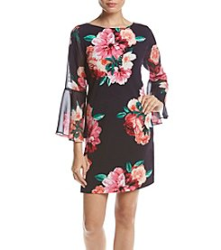 Jessica Howard® Petities' Printed Bell Sleeve Dress