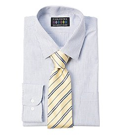 Alexander Julian® Men's Regular Fit Stretch Check Dress Shirt & Tie Set