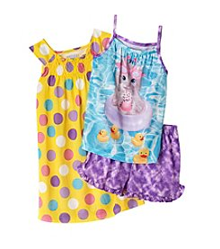 Komar Kids Girls' 3-Piece Kitty Pool Sleep Shorts Set