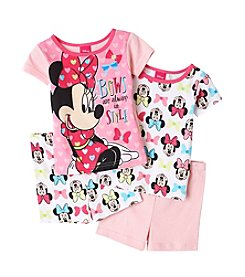 Disney® Girls' 2T-4T Minnie Mouse® Bows 4-Piece Short Set