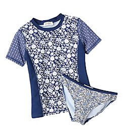 Jessica Simpson Girls' 7-16 Ditsy Rashguard Top And Bottoms