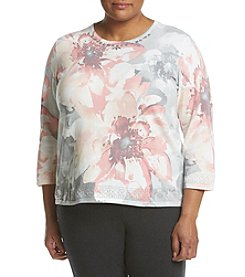 Alfred Dunner® Plus Size Detailed Floral Sweater