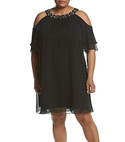 Jessica Howard® Plus Size Cold Shoulder Beaded Dress
