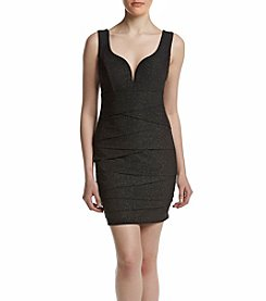 Emerald Sundae® Notch Neck Rouched Bodycon Dress