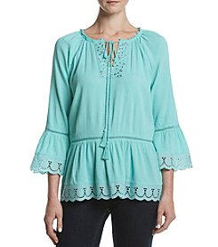 Relativity® Eyelet Trim Peasant Top