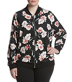Relativity® Plus Size Floral Printed Bomber Jacket