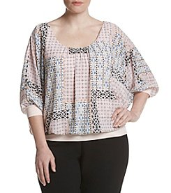 Relativity® Plus Size Solid Print Woven Top