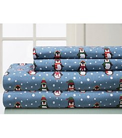 Elite Home Products Winter Nights Cotton Penguin Flannel Sheet Set