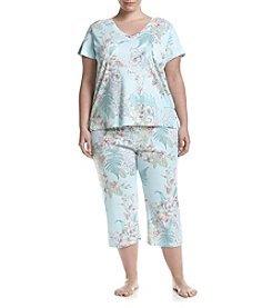 Miss Elaine® Plus Size Floral Printed Pajama Set