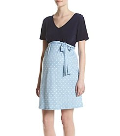 Three Seasons Maternity™ V-neck Solid Top Dot Skirt Dress