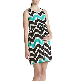 Three Seasons Maternity™ Keyhole Chevron Print Dress