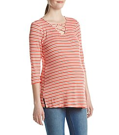 Three Seasons Maternity™ Lace Up Stripe Top