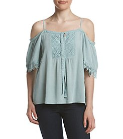 Sequin Hearts® Lace Detail Off-Shoulder Top