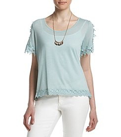 Sequin Hearts® Crochet Trim Top