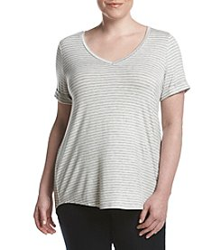 Pink Rose® Plus Size Stripe V-Neck Tee