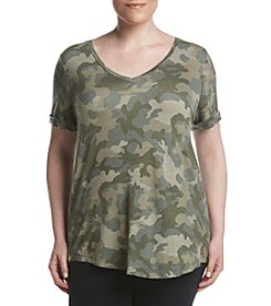 Pink Rose® Plus Size Camo V-Neck Tee
