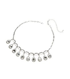 BT-Jeweled Teardrop Show Rhinestone Necklace