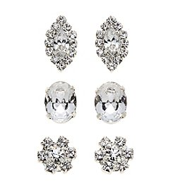 BT-Jeweled Post Rhinestone Trio Studs