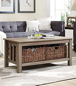 W. Designs Wood Storage Coffee Table with Totes