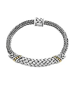 Effy® 925 Sterling Silver And 18K Yellow Gold Woven Bracelet