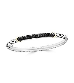 Effy® Sterling Silver And 14K Yellow Gold Black Diamond Bangle