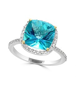 Effy® 14K Two Tone Gold Diamond And Paraiba Topaz Ring