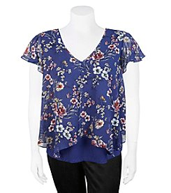 A. Byer Plus Size Floral Layer Top