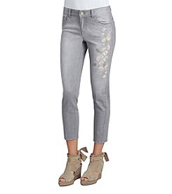 Democracy Floral Embroidered Girlfriend Jeans