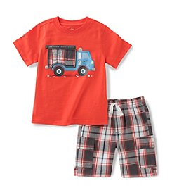 Kids Headquarters Baby Boys' Fire Truck Tee-Plaid Short Set