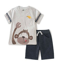Kids Headquarters Baby Boys' Monkey Face Tee and Shorts Set