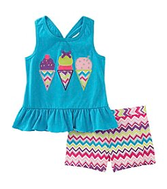 Kids Headquarters Baby Girls' Ice Cream Tank and Printed Shorts Set